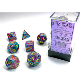 Chessex Polyhedral Dice Set: Dm9 Festive Mosaic Yellow (7)