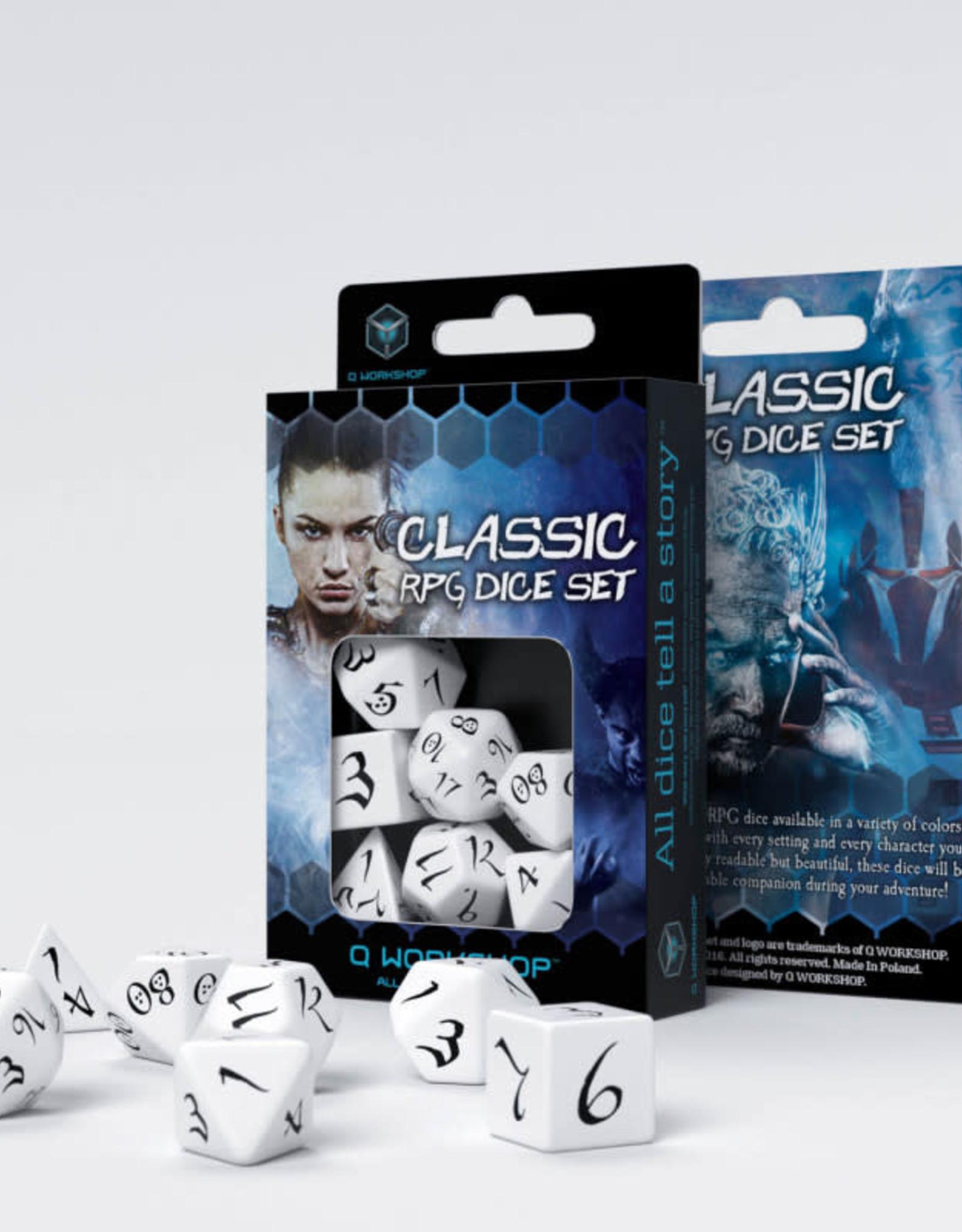 Q Workshop Classic RPG Dice Set White/Black (7)