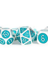Metallic Dice Games Polyhedral Dice Set: 16mm Silver with Teal Enamel Metal
