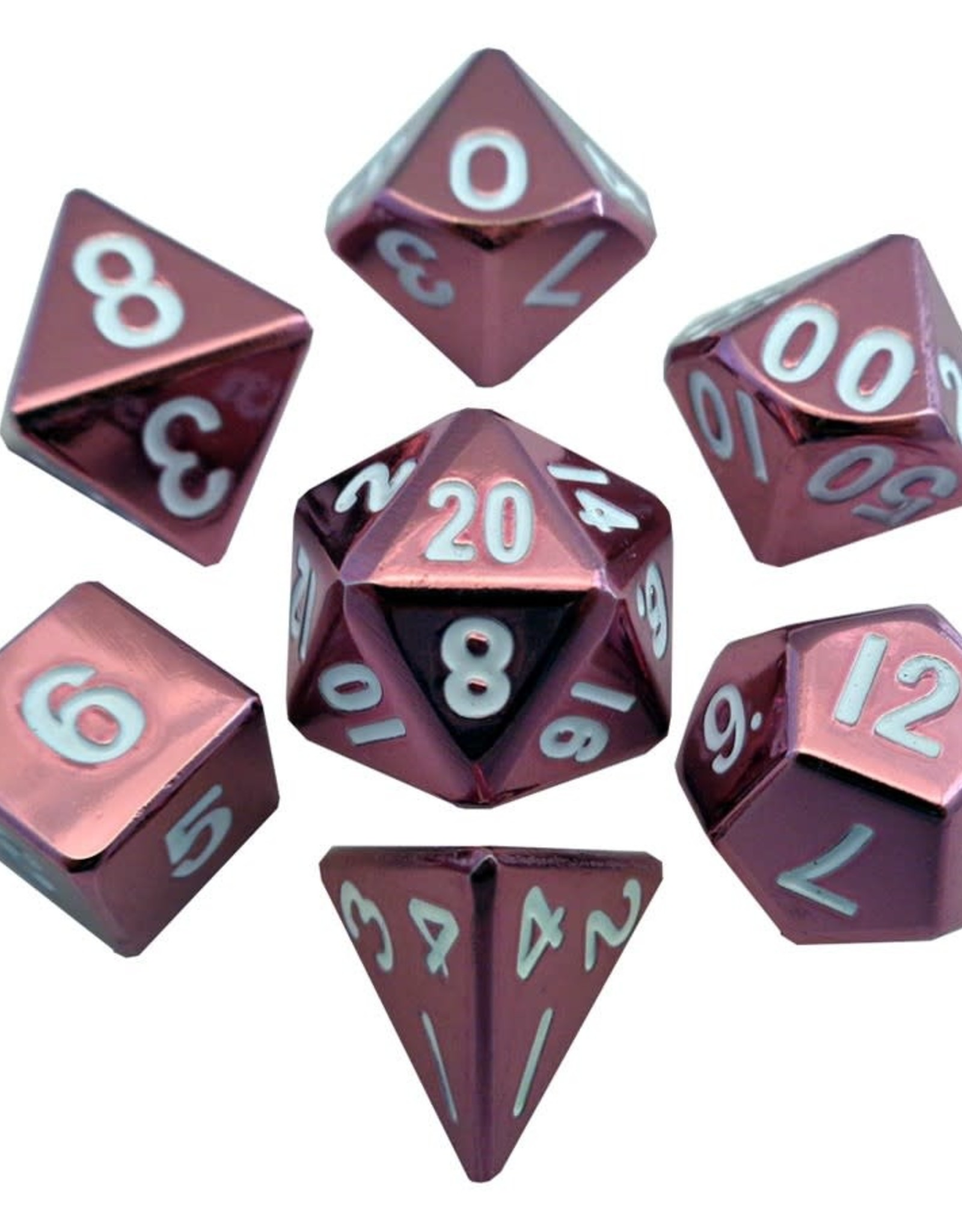 Metallic Dice Games Polyhedral Dice Set: 16mm Pink Painted Metal