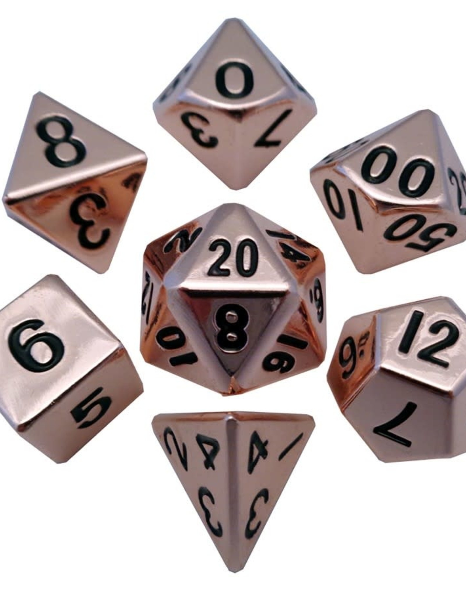 Metallic Dice Games Polyhedral Dice Set: 16mm Copper Metal