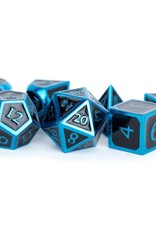 Metallic Dice Games Polyhedral Dice Set: Blue with Black Enamel 16mm Metal