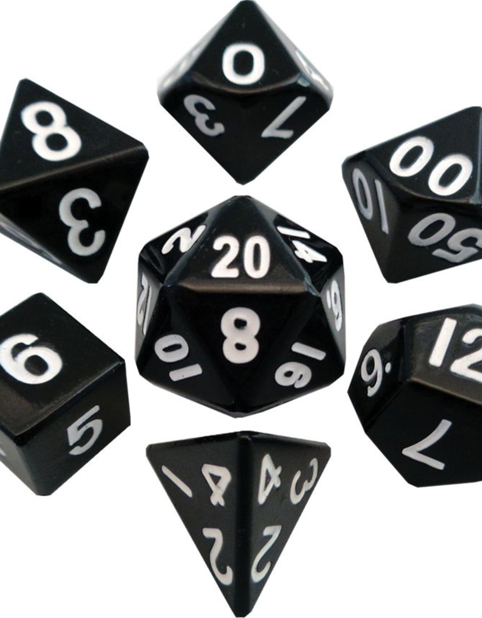 Metallic Dice Games Polyhedral Dice Set: 16mm Black Metal