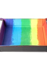 Metallic Dice Games Dice Tray: Velvet Folding with Leather Backing Watercolor Rainbow