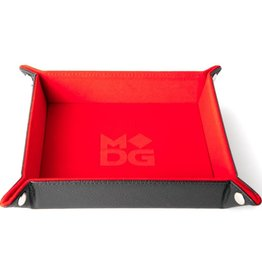 Metallic Dice Games Dice Tray: Velvet Folding with Leather Backing Red