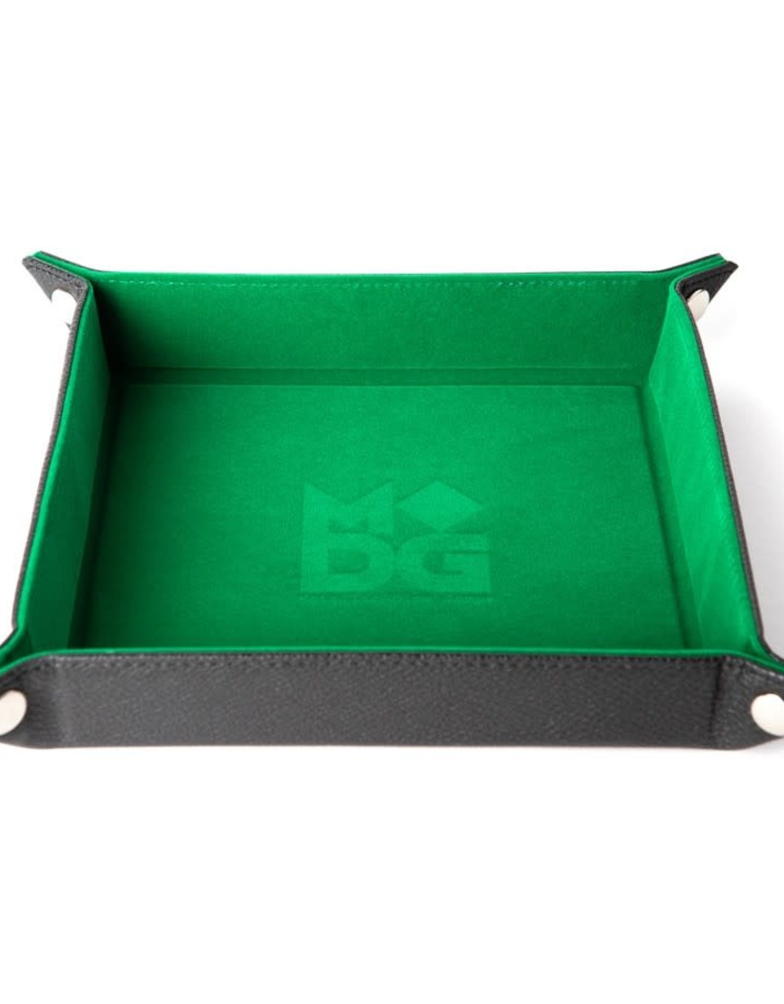 Metallic Dice Games Dice Tray: Velvet Folding with Leather Backing Green