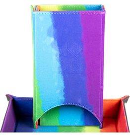 Metallic Dice Games Fold Up Velvet Dice Tower: Watercolor Rainbow