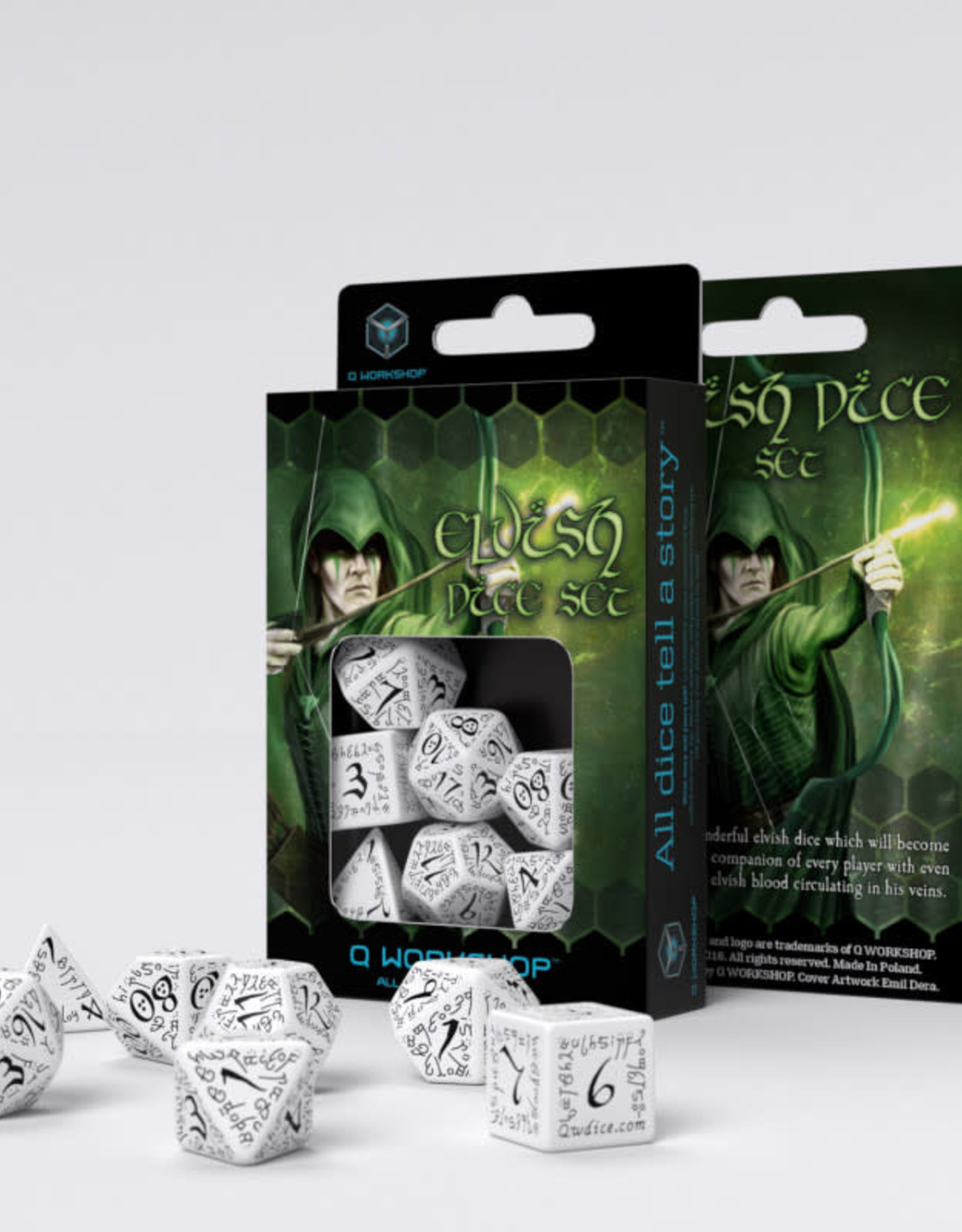 Q Workshop Elvish Dice Set White/Black (7)