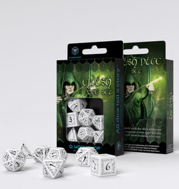 Q Workshop Elvish Dice Set White/Black (7)