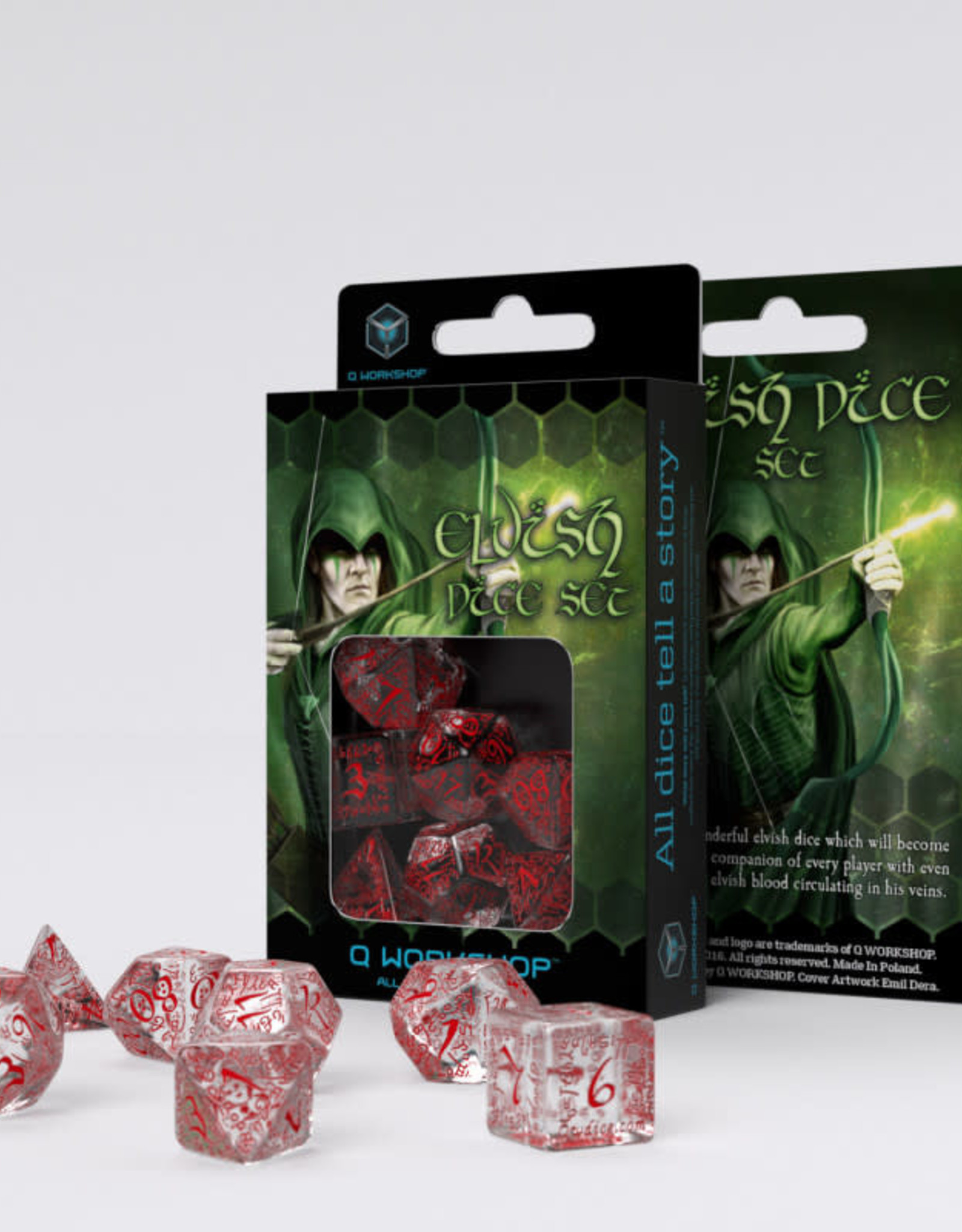 Q Workshop Elvish Dice Set Transparent/Red (7)