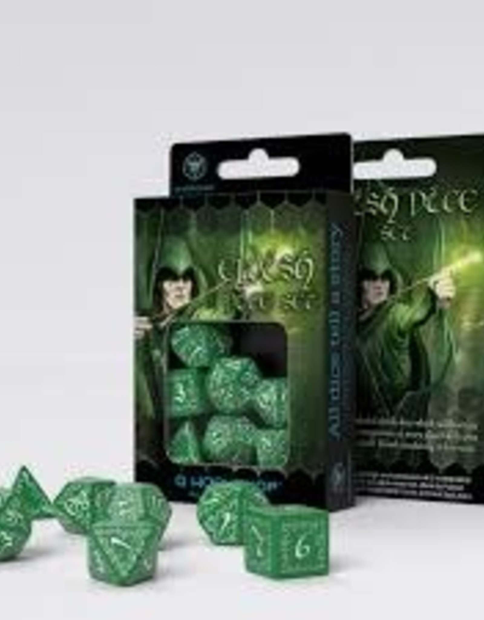Q Workshop Elvish Dice Set Green/White (7)