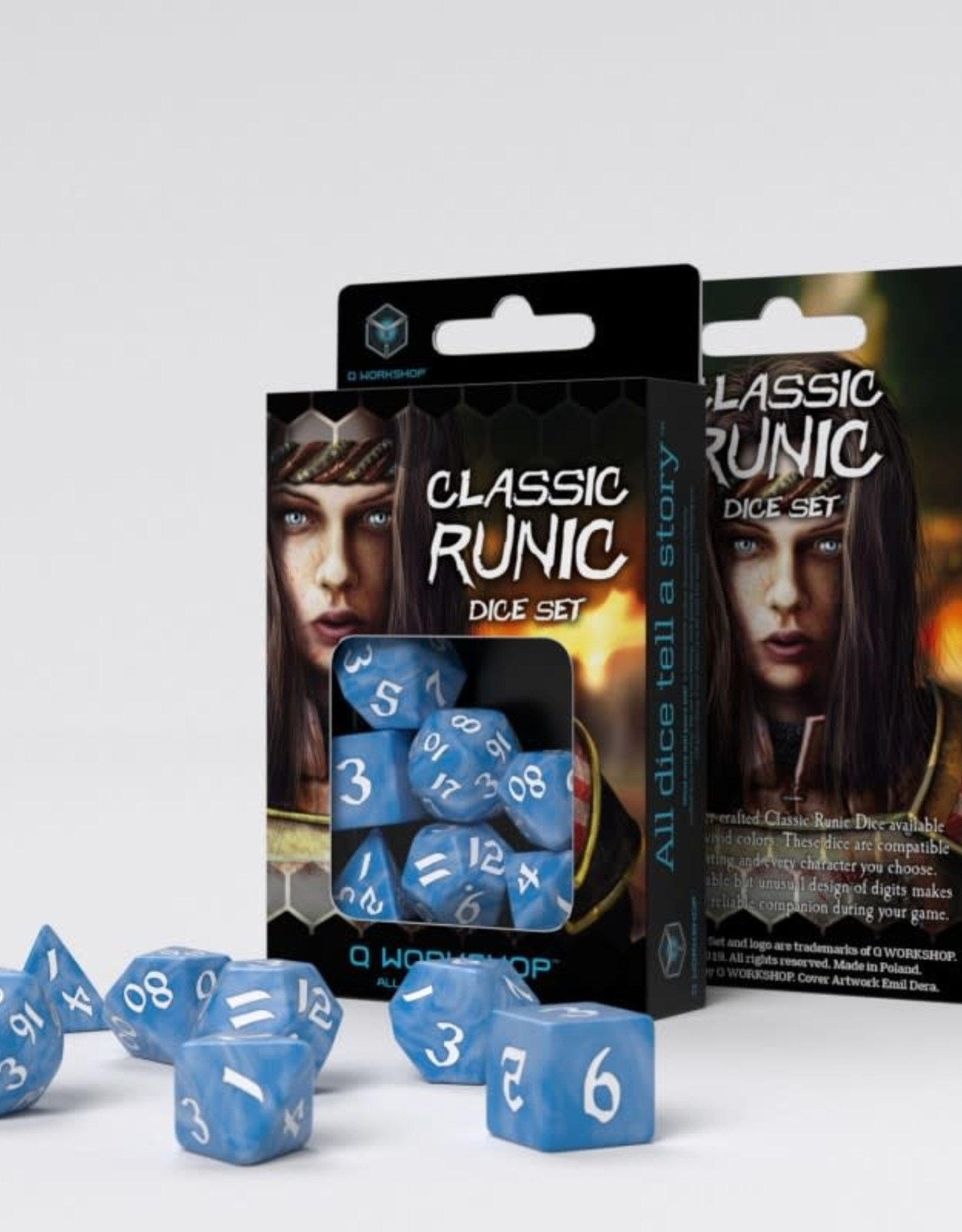 Q Workshop Classic Runic Dice Set Glacier & White (7)