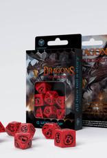 Q Workshop Dragons Dice Set Red/Black (7)