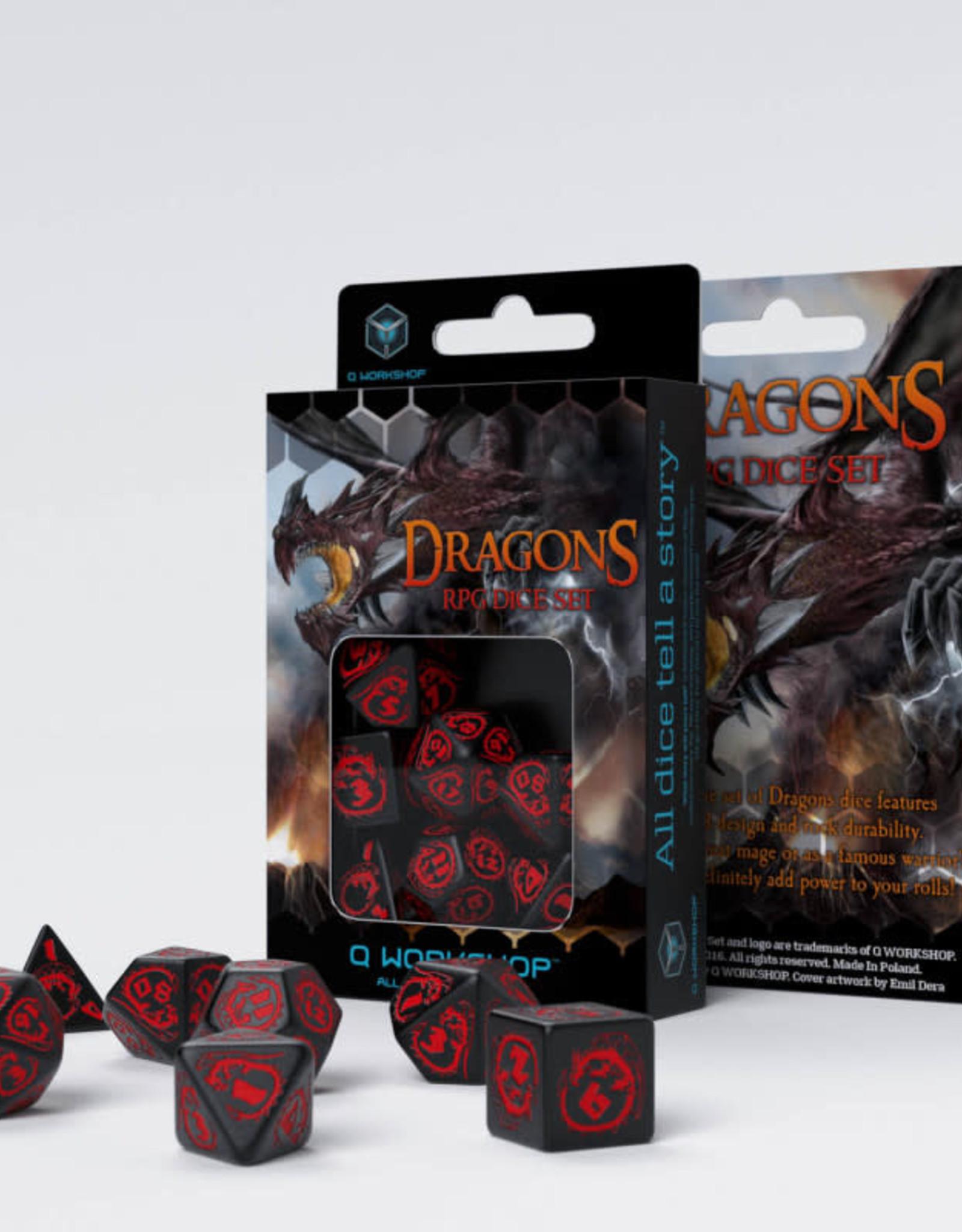 Q Workshop Dragons Dice Set Black/Red (7)