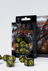 Q Workshop Dragons Dice Set Black/Yellow (7)