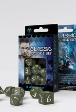 Q Workshop Classic RPG Dice Set Olive/White (7)