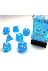 Chessex Polyhedral Dice Set: Frosted Caribbean Blue/White (7)