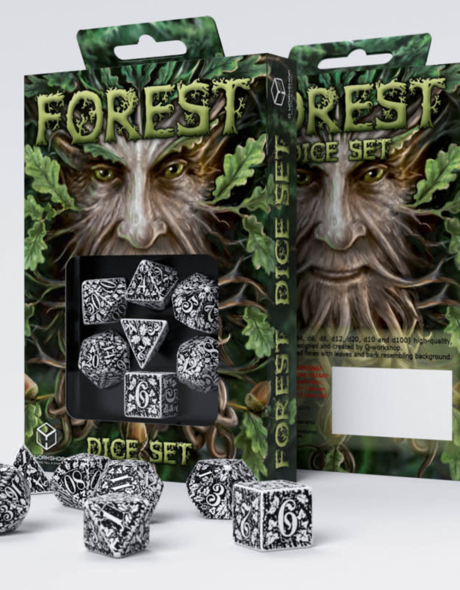 Q Workshop Forest Dice Set 3D White/Black (7)