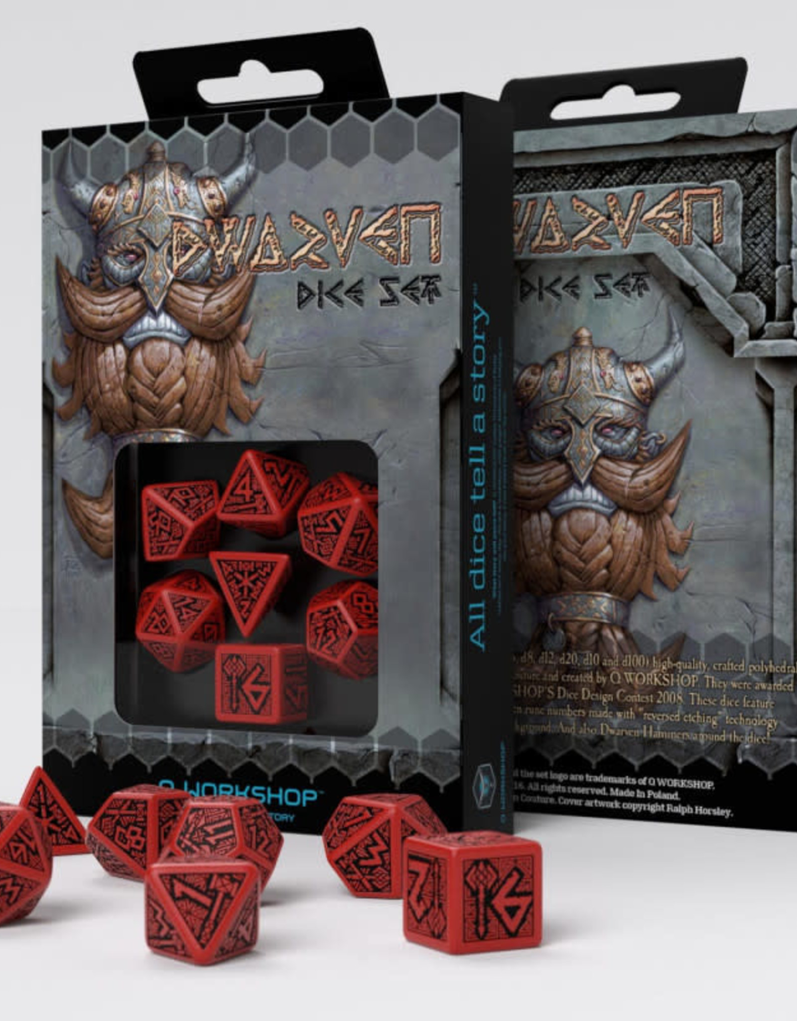 Q Workshop Dwarven Dice Set: Red/Black (7)