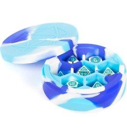 Metallic Dice Games SILICONE ROUND DICE CASE BLUE WHITE LIGHT BLUE
