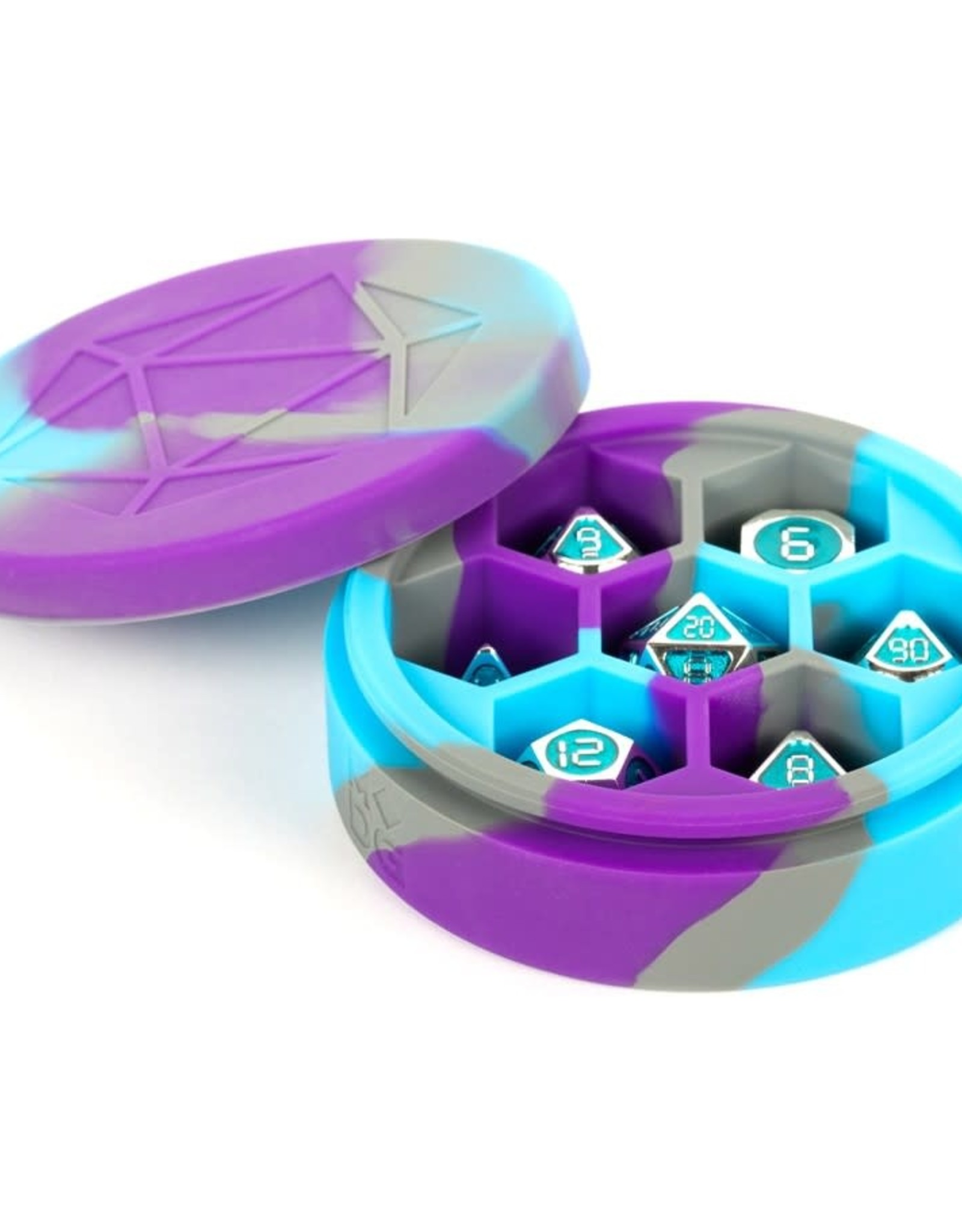 Metallic Dice Games Silicone Round Dice Case: Purple/Grey/Light Blue