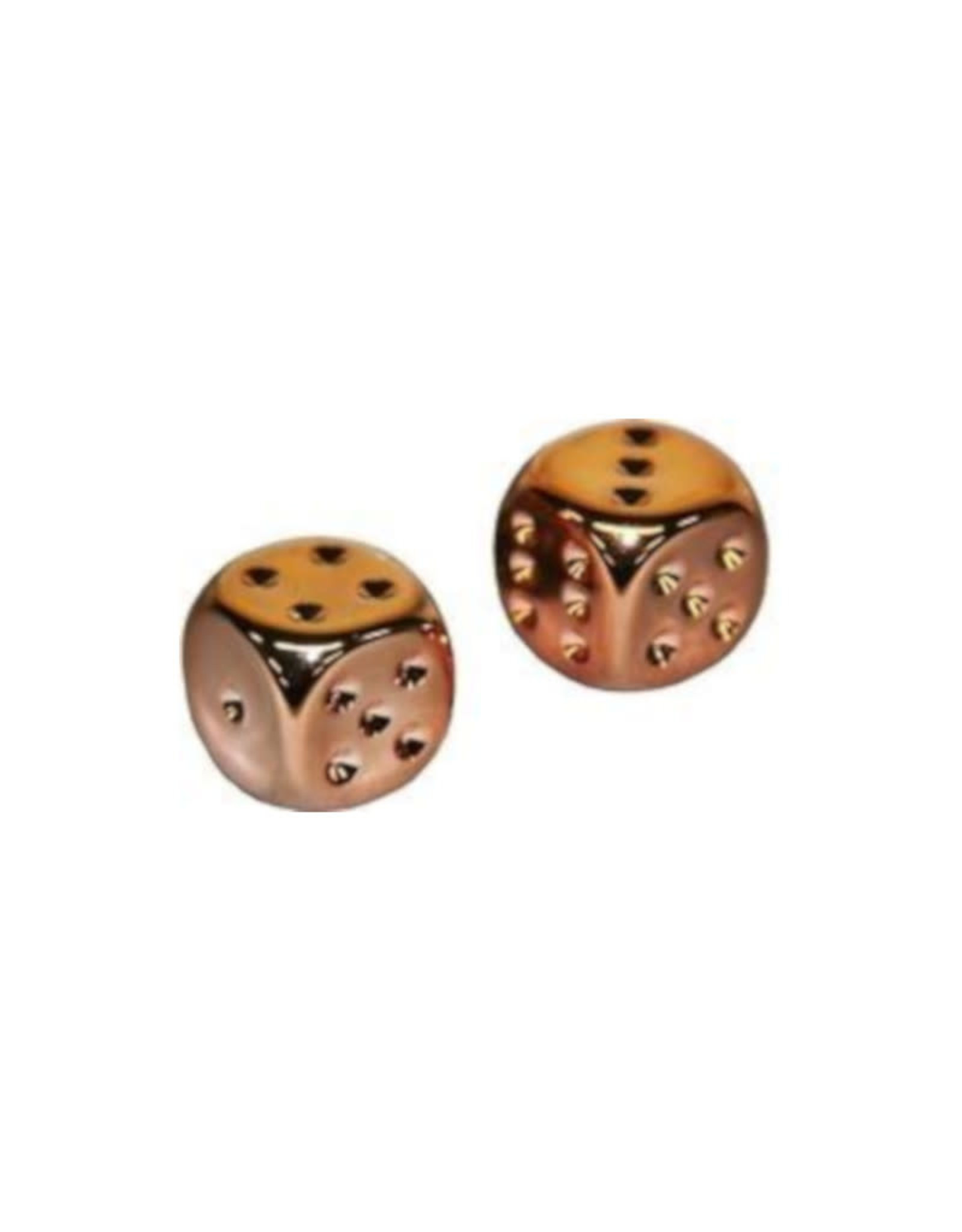 Chessex D6 Dice Pair: Copper-plated 16mm With Pips