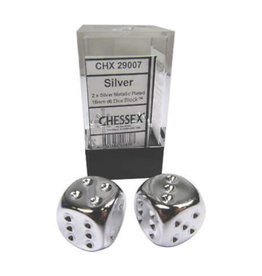 Chessex D6 Dice Pair: Silver-plated 16mm With Pips