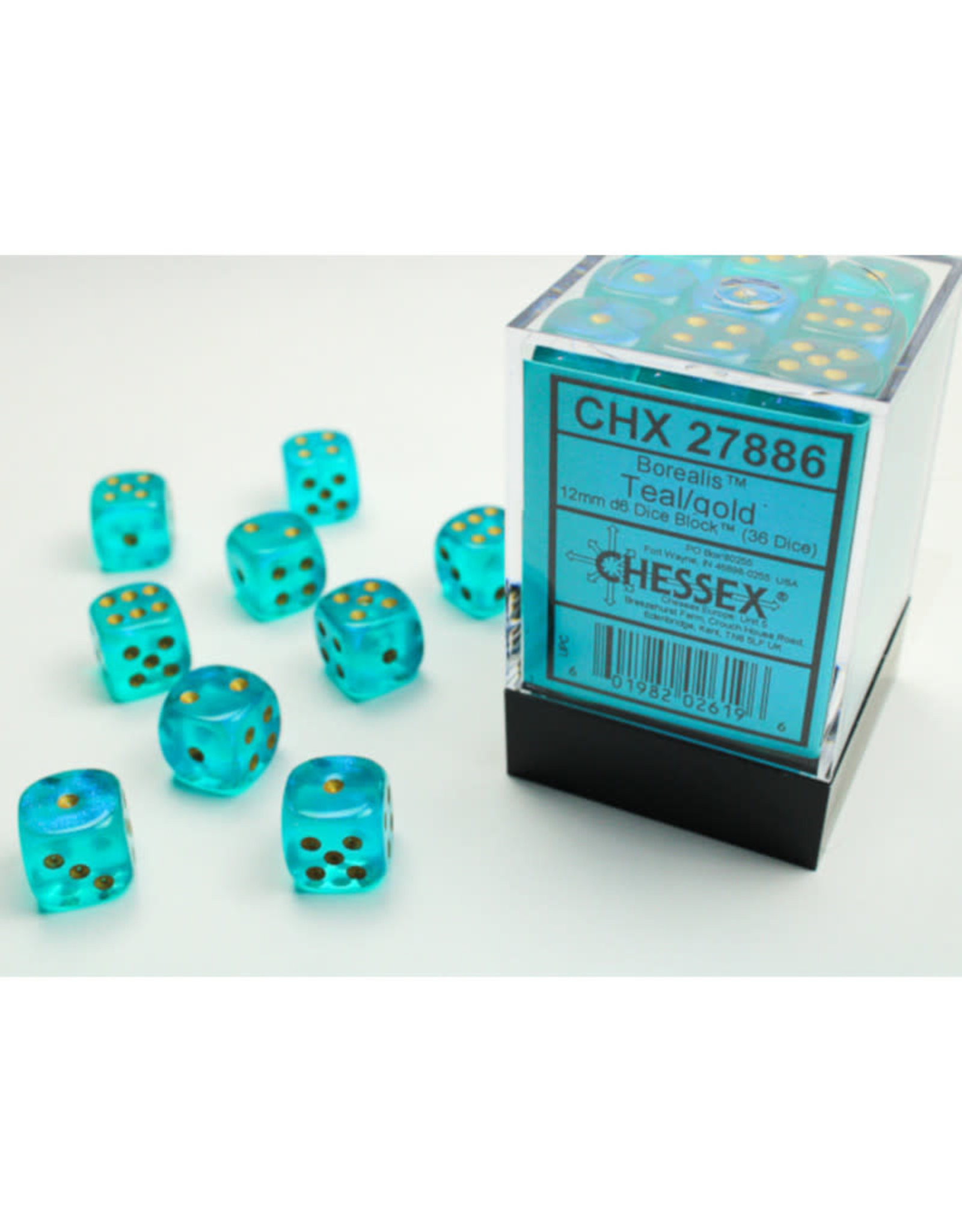 Chessex D6 Dice: 12mm Borealis Teal/Gold (36)