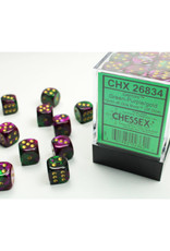 Chessex D6 Dice: 12mm Gemini Green Purple Gold/Black (36)