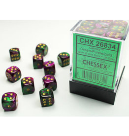 Chessex D6 Dice Set: Gemini 12mm Green Purple Gold/Black (36)