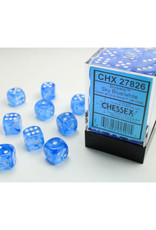 Chessex D6 Dice: 12mm Borealis Sky Blue/White/Black (36)