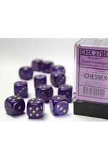 Chessex D6 Dice: 16mm Borealis Royal Purple/Gold (12)