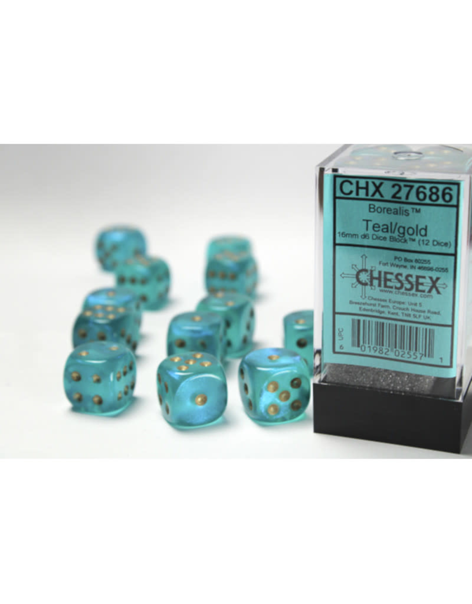 Chessex D6 Dice: 16mm Borealis Teal/Gold (12)