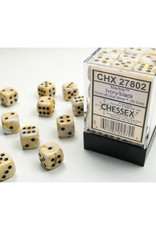 Chessex D6 Dice: 12mm Marble Ivory/Black (36)