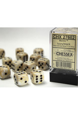 Chessex D6 Dice: 16mm Marble Ivory/Black (12)