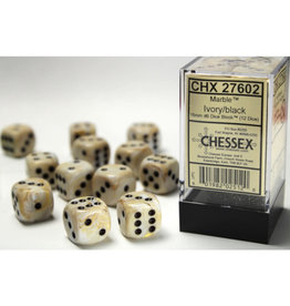 Chessex D6 Dice: Dm4 Marble 16mm Ivory/Black (12)