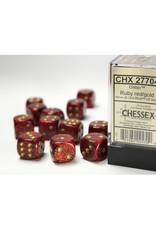 Chessex D6 Dice: 16mm Glitter Ruby/Gold (12)