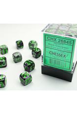 Chessex D6 Dice: 12mm Gemini Black Gray/Green (36)