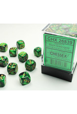 Chessex D6 Dice: 12mm Gemini Black Green/Gold (36)