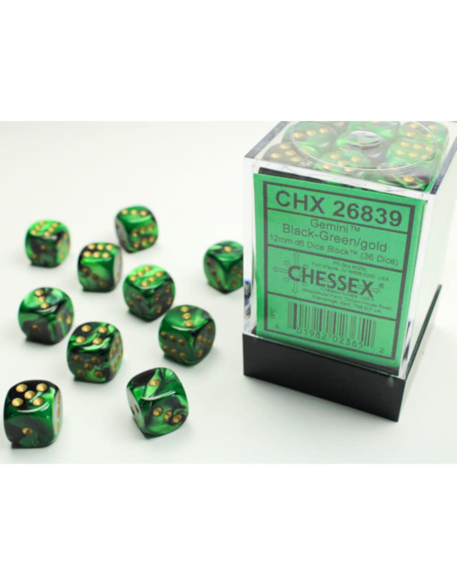 Chessex D6 Dice: 12mm Gemini Black Green/Gold (36)