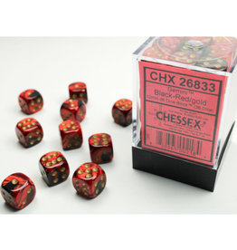 Chessex D6 Dice: Gemini 12mm Black Red Gold/Black (36)
