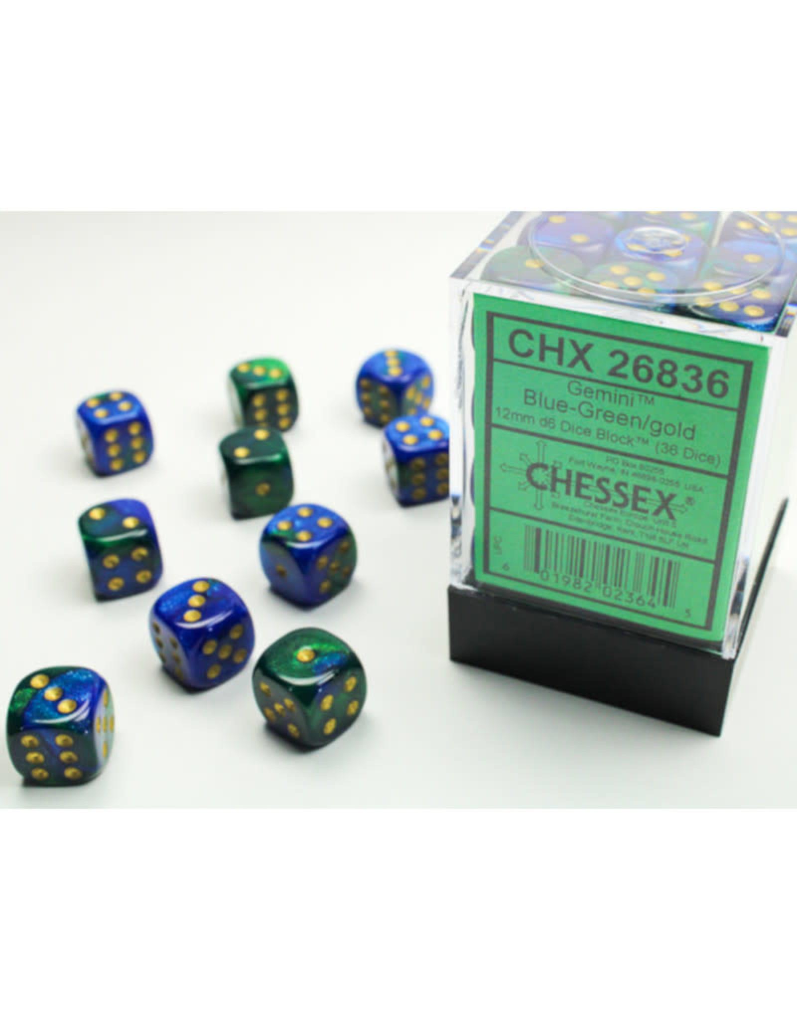 Chessex D6 Dice: 12mm Gemini Blue-Green Gold/Black (36)