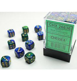 Chessex D6 Dice: Gemini 12mm Blue-Green Gold/Black (36)