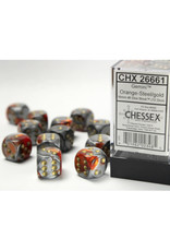 Chessex D6 Dice: 16mm Gemini Orange/Steel/Gold (12)