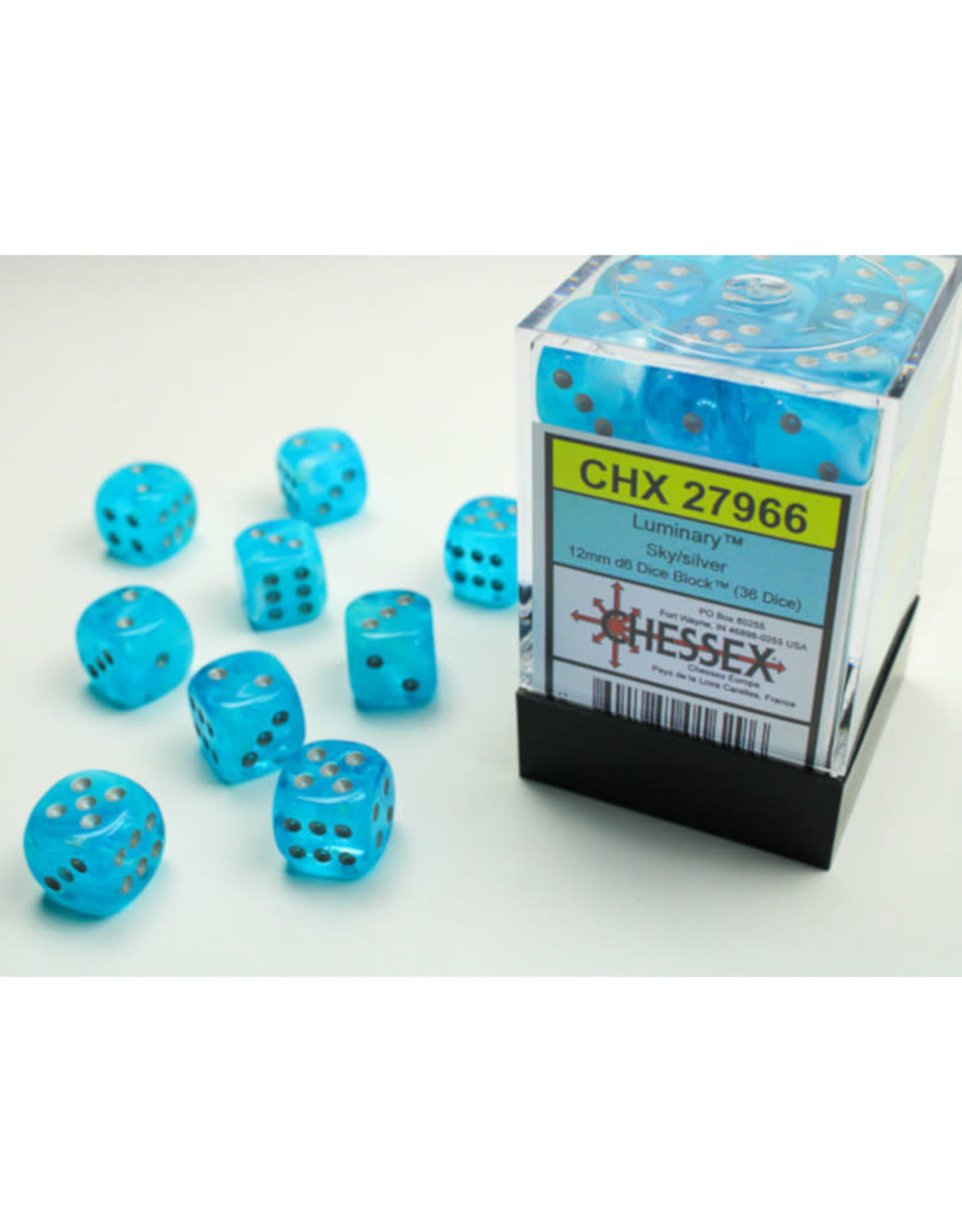 Chessex D6 Dice: 12mm Menagerie luminary Poly Sky/Silver (36)