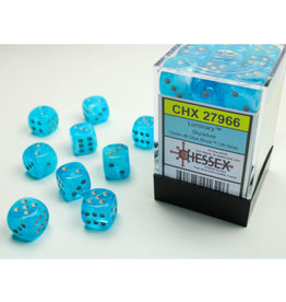 Chessex D6 Dice: Menagerie 12mm luminary Poly Sky/Silver (36)