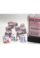 Chessex D6 Dice: 16mm Menagerie Festive Pop Art/Blue (12)