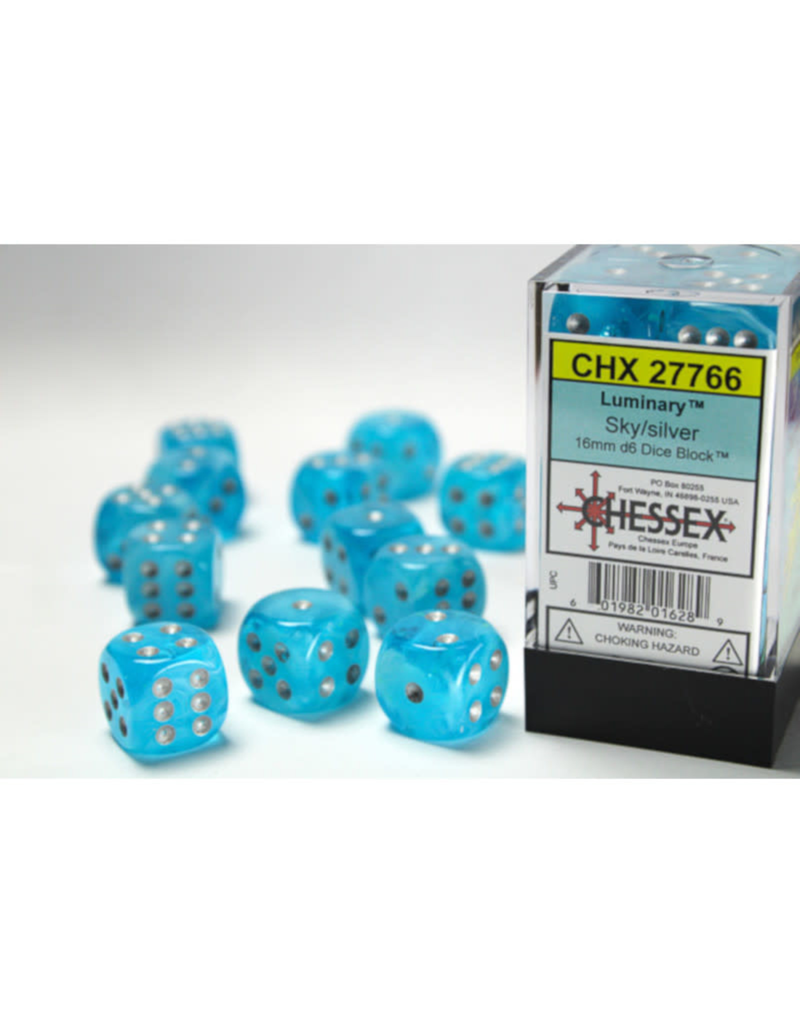 Chessex D6 Dice: 16mm Menagerie Luminary Sky/Silver (12)