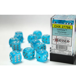 Chessex D6 Dice: Menagerie 16mm Luminary Sky/Silver (12)