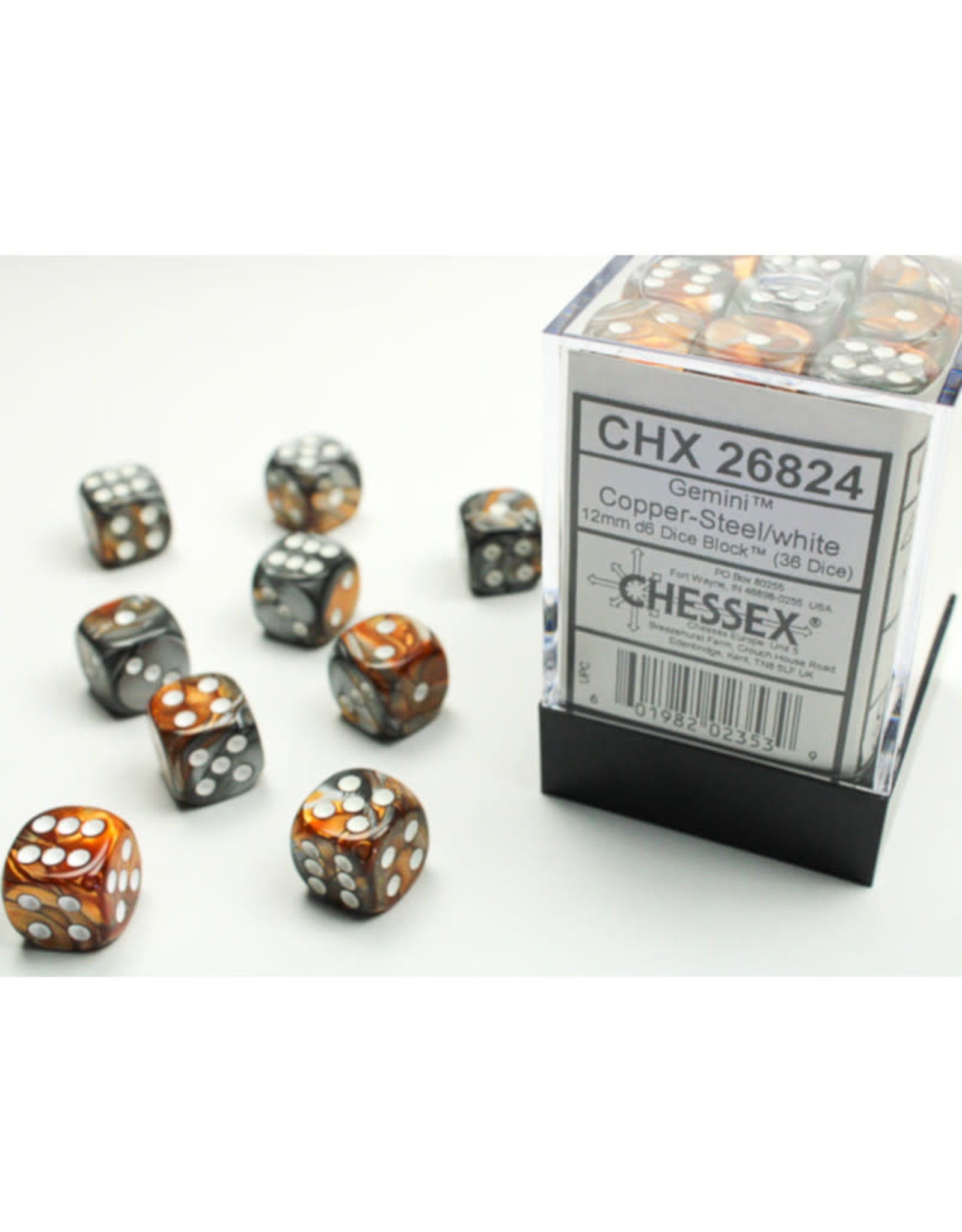Chessex D6 Dice: 12mm Gemini Copper Steel/White (36)